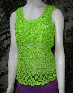 Blusa tejida en crochet con hilo mercerizado sin por ruecavellon