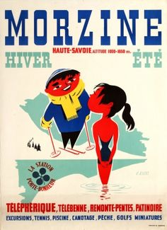 Morzine Ski Winter Spa Summer France, 1950s - original vintage poster by G. Righi listed on AntikBar.co.uk