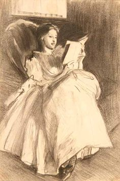 """""""Girl Reading,"""" by John Singer Sargent (Manchester Art Gallery). Girl Reading, Reading Art, Children Reading, Alphonse Mucha, People Reading, Sargent Art, Beaux Arts Paris, Drawing Sketches, Drawings"""