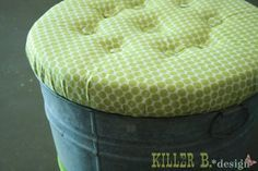 Really easy tutorial for creating an ottoman with storage from a galvanized tin