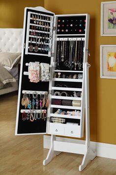 Шкаф с зеркалом для украшений : Напольный шкаф зеркало для украшений Omi50