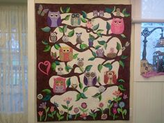This is a quilt I made for my baby granddaughter. I knew I wanted to make a… Owl Quilts, Night Owl, Tree Leaves, Leaf Flowers, Tapestries, Grandchildren, Owls, Whimsical, Applique