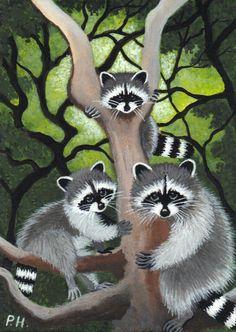 ACEO Print Raccoon Tree | eBay