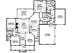Southern Style House Plans - 2502 Square Foot Home , 1 Story, 3 Bedroom and 2 Bath, 3 Garage Stalls by Monster House Plans - Plan 23-125.   No need for a 3rd garage