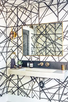 megan tagliaferri / belmont shore residence, long beach Kelly Wearstler for Lee Jofa Wallpaper brass bathroom fixtures wall mounted faucet channels