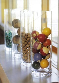 Game room idea - Cue balls in a glass vase