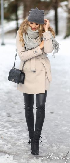 #winter #fashion / cream coat + leather momsmags.net
