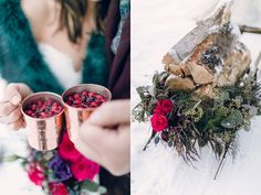 pomegranate drinks - photo by Sweetlife Photography http://ruffledblog.com/winter-wedding-ideas-with-an-amaranthus-chandelier