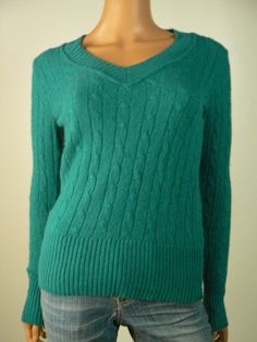 Ann Taylor Loft Green Cable Knit Rabbit Hair Wool Vneck Sweater