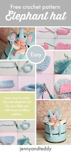 free crochet elephant hat for newborn baby to 3 month old with easy to read pattern and detail photo tutorial grab the pattern on the blog.