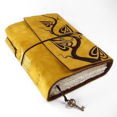 Golden Leaves, Leather Journal, Suede