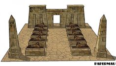 Egyptian Temple Entrance Paper Model - by Papermau - Next Project - == - This Egyptian Temple Entrance with its Guardian Sphynxes and Obelisks, is already done. I used images of Karnak Temple entrance as referencial. I am working on the templates at Pepakura right now. Download very soon.