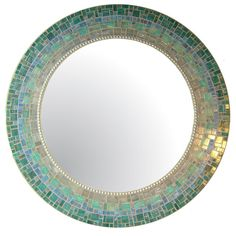 Custom Mosaic Mirror  Sea Green Blue Teal & Gray by opusmosaics, $150.00
