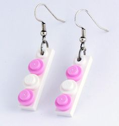 Pink & White LEGO Thin Tile Dangle Earrings