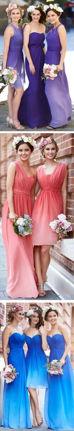 Ombre Bridesmaid Dresses ❤︎ #bridesmaid #wedding #dress