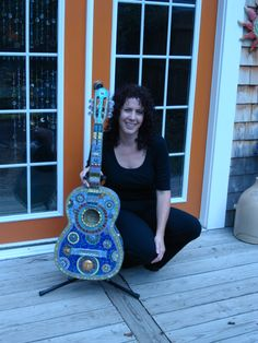 The first mosaic guitar from Crooked Moon Studio. Mosaic Art, Garden Art, Art Pieces, Guitar, Moon, Studio, Artist, The Moon, Artworks