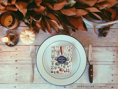 Thanksgiving Table - Fall Tablescape - Magnolia Garland - Thanksgiving Menu Cards - Gather Share Feast Harvest Cards from Substation Paperie