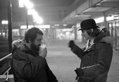 Stanley Kubrick and Malcolm McDowell on the set of A Clockwork Orange