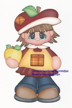Premade Apple Girl Paper Piecing for Scrapbook Pages by Babs | eBay
