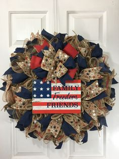This Flag Wreath is great for any patriotic holiday or whenever you want to show your patriotic pride. Patriotic Wreath, Patriotic Decorations, 4th Of July Wreath, Diy Wreath, Burlap Wreath, Rustic Wreaths, Wreath Ideas, Wreaths For Front Door, Door Wreaths