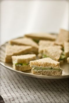 Cucumber Tea Sandwiches With A Chive