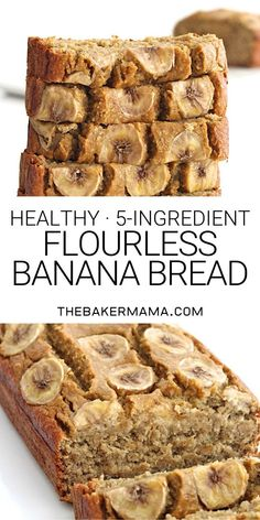 Just 5 ingredients to make this healthy loaf of banana bread that's moist, oaty and naturally sweetened with maple syrup. Just 5 ingredients to make this healthy loaf of banana bread that's moist, oaty and naturally sweetened with maple syrup. Healthy Bread Recipes, Banana Bread Recipes, Healthy Sweets, Healthy Baking, Recipes With Bananas Healthy, Flourless Banana Bread Recipe, Rice Flour Recipes, Healthy Breads, Protein Recipes