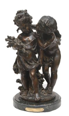 Moreau French Bronze Children Group on Base.