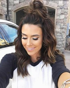 { Cute half top knot in brunette balayage }
