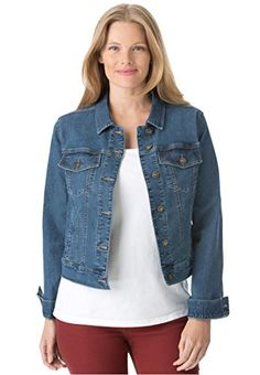 Women's Plus Size Jacket, Cropped Length, Stretch Denim  Twill -- You can find more details by visiting the image link.