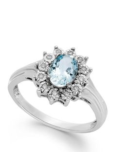 Aquamarine (5/8 ct. tw.) and Diamond Accent Ring in 10k White Gold #sponsored