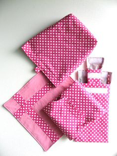 Reusable Lunch Set 5 pc  Pink Polka Dots and Grey by keepeweclean, $24.00