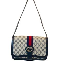 """Gucci GG monogram """"BREVETTATO"""" handbag. A true rare vintage piece from 1976. This highly Rare and collectable, perfectly reserved handbag, is a true statement. As a part of the GUCCI 'BREVETTATO' collection from the early 70's, this bag has the true allure of the brand. """"BREVETTATO""""- patent in Italian, is a true statement for this special bag, the two buttons on the sides of the bag, can be pushed in, and by doing so, the bag's leather-strap length can be adjusted from a shoulder bag length…"""