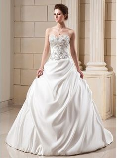 Wedding Dresses - $272.99 - Ball-Gown Sweetheart Chapel Train Satin Wedding Dress With Embroidered Ruffle Beading  http://www.dressfirst.com/Ball-Gown-Sweetheart-Chapel-Train-Satin-Wedding-Dress-With-Embroidered-Ruffle-Beading-002001649-g1649