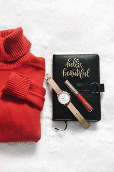 Our go to holiday outfit includes festive red sweaters plus the Q Tailor hybrid smartwatch. via @ stephanybydesign