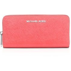 3534003df796d5 Michael Michael Kors Wallet - Continental ($138) ❤ liked on Polyvore  featuring bags, wallets, coral, michael michael kors, coral wallet, red zip  around ...