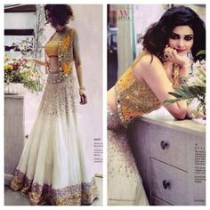 Mirror work lehenga wore by prachi desai in white and yellow color. Georgette lehenga with heavy mirror work. For details, msg me Indian Attire, Indian Ethnic Wear, Ethnic Suit, Ethnic Style, Indian Style, Pakistani Outfits, Indian Outfits, Ethnic Fashion, Indian Fashion