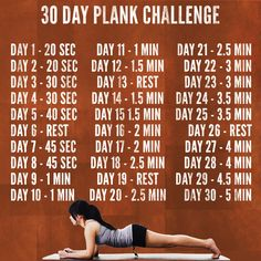 30 day plank challenge - Gets you to 5 minutes.