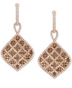 Le Vian Chocolatier® Vanilla Diamonds® and Chocolate Diamonds® Drop Earrings (1-5/8 ct. t.w.) in 14k Strawberry Gold® - Earrings - Jewelry & Watches - Macy's