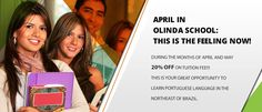 20% OFF Discount for Portuguese Course valid April and May 2017! Olinda School Brazil!  http://www.studybooking.com/…/portuguese-olinda-portuguese-…  #portuguesecourse #portugueselanguage #brazil #studyinbrazil #travelinbrazil #cheapcourse #discountcourse #activities #examcourse #specialdeal #studentaccommodation #olindaschoolbrazil