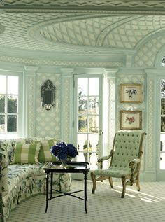 Treillage Room Designed By Anthony Baratta . Love the Lattice! Beautiful Interiors, Colorful Interiors, Beautiful Homes, Interior And Exterior, Interior Design, Design Art, Ceiling Detail, Green Rooms, Architecture