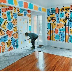 Likes, 89 Comments - Dallas Clayton (dallas - Murales Pared Exterior Mural Wall Art, Mural Painting, Kids Wall Murals, Dallas Clayton, Office Mural, Wal Art, Instalation Art, School Murals, Wall Design
