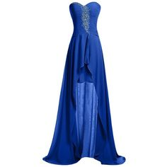 Sunvary Strapless Homecoming Dress Hi-Lo Sweetheart Pleated Chiffon... ($70) ❤ liked on Polyvore featuring dresses, gowns, chiffon gown, blue ball gown, high-low dresses, pleated chiffon gown and chiffon high low dress