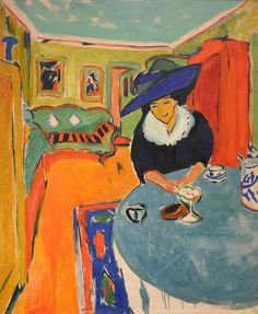 Ernst Ludwig Kirchner - Dodo at the Table (Interior with Dodo), 1909.