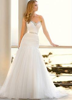 Acheter Fabuleuse robe de mariée en tulle et satin sirène col en cœur pour votre mariage en plage discount pas cher en ligne sur edressbridal .com