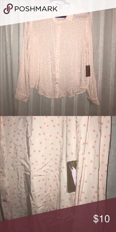 Forever 21 Blouse NWT! Light pink with darker pink polka dots. Perfect for work or cute for dress up. Forever 21 Tops