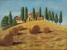 Tuscan sunshine by Fernando Barozza Tuscany Landscape, Countryside Landscape, Farm Paintings, Paintings I Love, Watercolor Landscape Paintings, Watercolour, Toscana Italy, Building Art, Life Is Beautiful