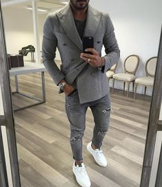 dress it down // double-breasted blazer, ripped denim, sneakers, menswear, mens fashion, mens style