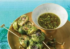 Roasted Brussels Sprouts Skewers with Lemon-Thyme Dipping Sauce | Vegetarian Times