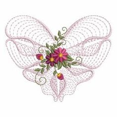 Rippled Floral Hearts 2 01(Lg) machine embroidery designs