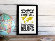 Adventures World Map Travel Poster  Graphic by TheOystersPearl, $20.00